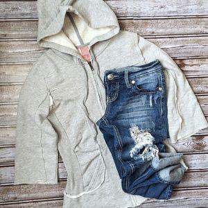 Free People Grey Hooded Zip Up Jacket